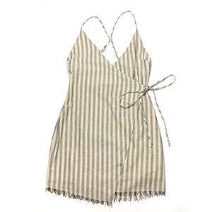 Cotton Candy LA Striped Faux Wrap Dress Small